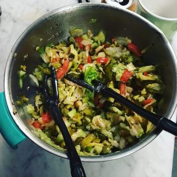 "A ""Kitchen Sink Salad"" Sara and I made."