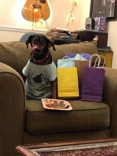 The Birthday Boy with his Prezzies.