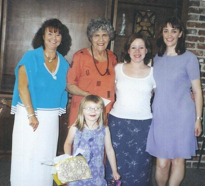 Love this so much. Sheila, Marie (Ginny's mom), Laura Anne, me and Ginny at church.