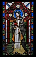 in stained glass.